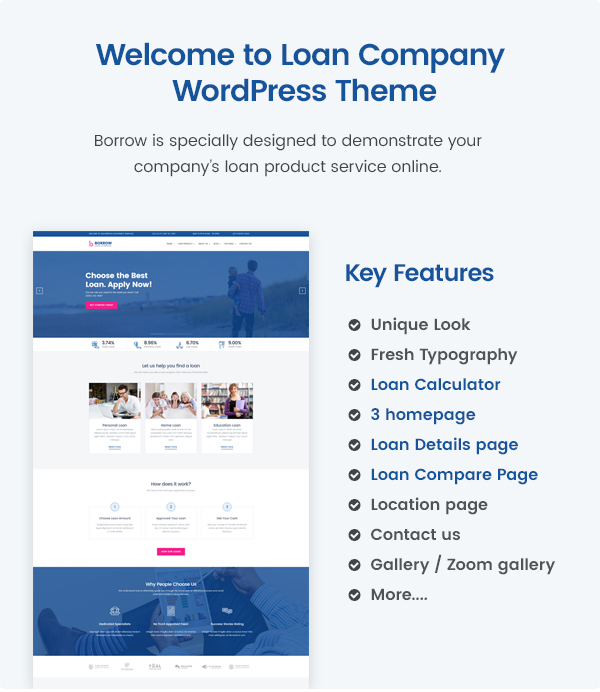 Borrow - Loan Company Responsive WordPress Theme
